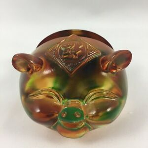 Amore Jewell Lucky Pig Business Card Holder Office Fengshui Liuli Crystal Glass