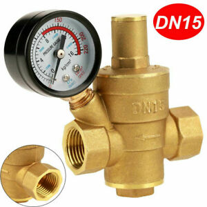 1 2 Inch Dn15 Brass Water Pressure Reducing Valve With Gauge Flow Adjustable New