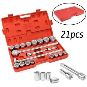 21pc 3 4 Standard Drive Socket Set Jumbo Ratchet Wrench Extension Carry Case