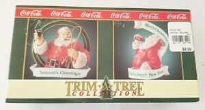 Coca-Cola Trim a Tree Collection Seasons Greetings Happy Year 1992 Set of 2
