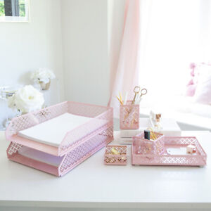 Blu Monaco Pink 6 Piece Cute Desk Organizer Set Cute Office Desk Accessories