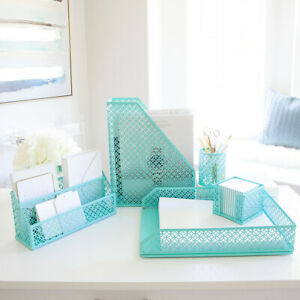 Blu Monaco Aqua 5 Piece Cute Desk Organizer Set Cute Office Desk Accessories