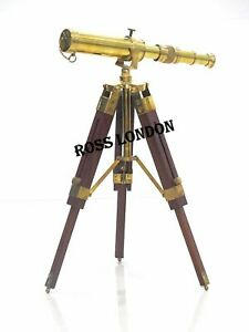 Antique Brass Telescope With Wood Tripod Table Stand Replica Vintage Marine Gift
