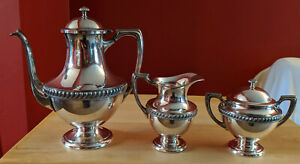 Antique Silver Plated Coffee Tea Set 1940s By Crescent