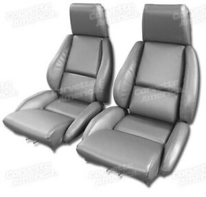 84 87 Corvette C4 Mounted Seat Upholstery Covers Gray Vinyl With Foam Set New