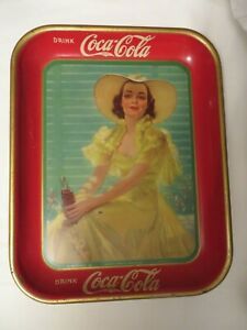 Vintage Metal Coca Cola Tray 1938 Lady in Yellow Dress & Hat
