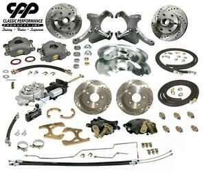 63 66 Chevy C10 Truck 12 Front 11 Rear Brake Kit Drop Spindles Hydrastop 6 Lug