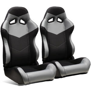 2 X Universal Black grey Pvc Leather Left right Jdm Racing Bucket Seats Slider