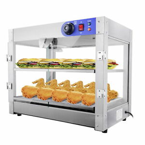 2 Tier Food Warmer Stainless Steel Buffet Pizza Display Cabinet Case 24x19x15