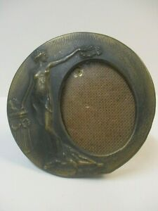 Small Vintage Round Art Nouveau Style Metal Brass Picture Frame Made In Italy