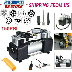 12v 150psi Double Cylinder Air Pump Compressor Heavy Duty Car Tire Inflator
