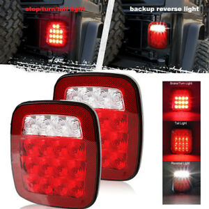 2pcs Led Tail Lights Rear Brake Lamps Turn Stop Reverse For Jeep Wrangler Cj