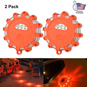 2pcs 15led Car Emergency Strobe Flash Warning Light Roof Beacon Road Safety Lamp