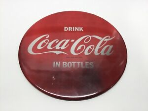 Vintage Drink Coca Cola 9 Inch Celluoid Over Tin Button Sign