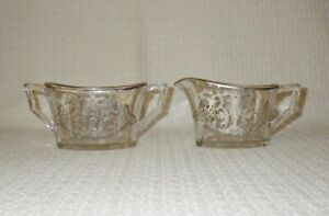 Sterling Silver Overlay Vintage Glass Sugar Creamer Urn With Flowers Scrolls