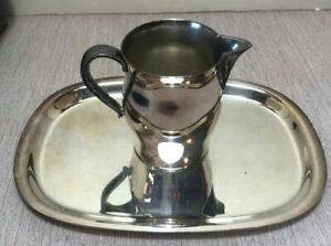 Paul Revere Reproduction Silver Tray W Creamer Mini Handled Pitcher Wm Rogers