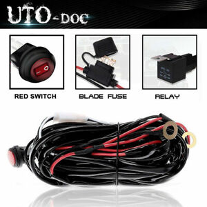 Us 1lead Wiring Harness Kit 12v 40amp Fuse Relay On Off Switch Fit Led Light Bar
