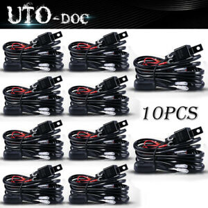 10x Universal Wiring Harness Kit Loom For Offroad Led Light Bar With Fuse Relay