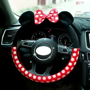 Mickey Minnie Cute Car Steering Wheel Cover Winter Plush Bow Decorations 15inch