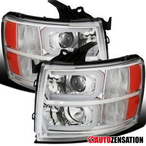 For 2007 2014 Chevy Silverado 1500 Clear Projector Headlights Led Drl Tube Bar