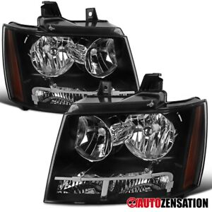 For 2007 2014 Chevy Tahoe Suburban Black Headlights Amber Parking Lamps