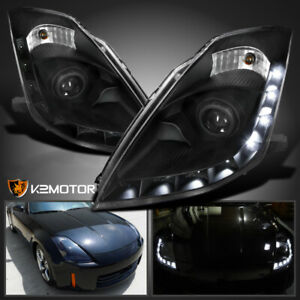Fits 2006 2009 Nissan 350z Factory Hid Led Drl Projector Headlights Black Pair