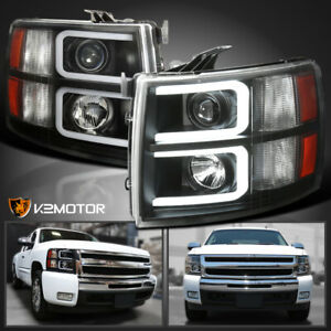 Black 2007 2014 Chevy Silverado 1500 2500 3500 Projector Headlights Led Drl Tube