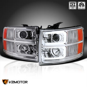 For 2007 2014 Chevy Silverado 1500 2500 3500 Projector Headlights led Drl Tube