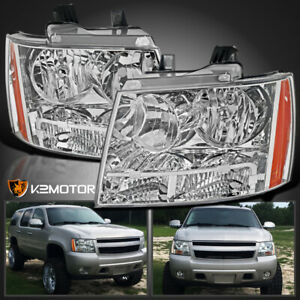 For 2007 2014 Chevy Avalanche Tahoe Suburban Crystal Headlights Left Right 07 14