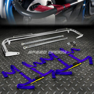 Chrome 49 stainless Steel Chassis Harness Bar blue 4 pt Strap Buckle Seat Belt