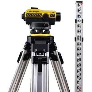 Cst Berger 55 slvp20nd 20x Auto Level W 8ft 10ths Rod Tripod Package