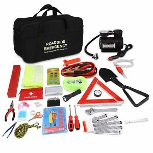 Roadside Assistance Emergency Car Suv Kit first Aid Kit Jumper Cables 99pcs