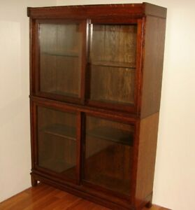 Antique 2 Stack Danner Bookcase Cabinet With Sliding Glass Doors Oak