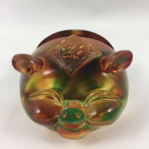 Amore Jewell Lucky Pig Business Card Holder Fengshui Liuli Crystal Glass Gift