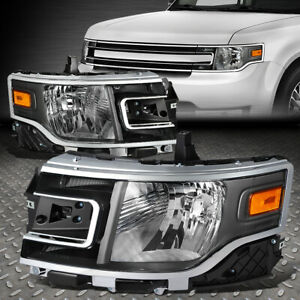 For 13 19 Ford Flex Black Housing Amber Corner Headlight Replacement Head Lamps