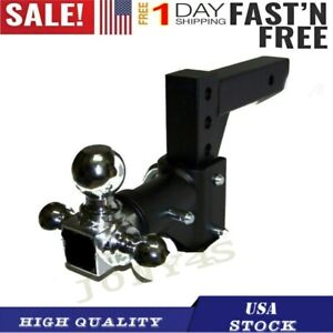 New Tri ball Swivel Adjustable Trailer Tow Drop Hitch Ball Mount 2 Inch Receiver