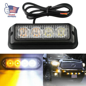 4led White Amber Grille Strobe Light Side Marker Flash Emergency Warning Bar 12v