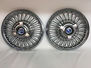 1965 1966 Mustang Galaxie 48 Spoke 14 Blue Center Spinner Wire Hubcaps Pair