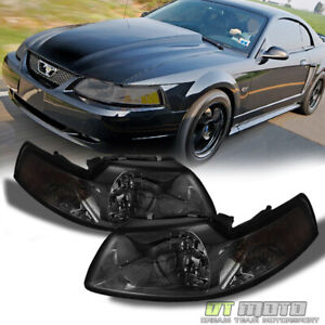 Smoke 1999 2004 Ford Mustang Headlights Replacement Headlamps Left Right 99 04