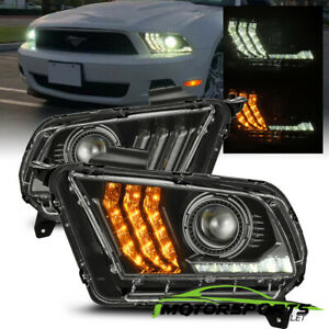 For 2010 2012 Ford Mustang Led Sequential Projector Polished Black Headlights