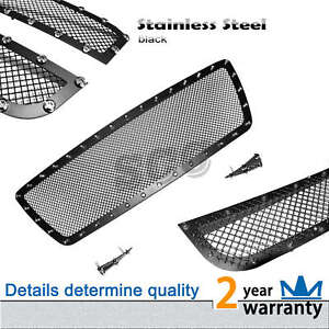 3qty Black Mesh Grille Upper Grill With Rivet Insert Fit 2005 10 Toyota Tacoma