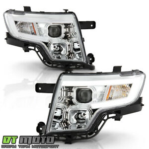 2007 2008 2009 2010 Ford Edge Led Tube Chrome Projector Headlights Headlamps Set