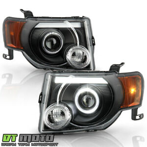 2008 2012 Ford Escape Suv Black Led Tube Halo Projector Headlights Headlamps Set