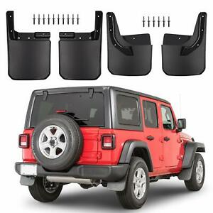 4x No Drill Mud Flaps Splash Guard For Jeep Wrangler Jl Front Rear Fender Flares
