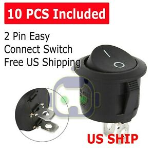 10pcs Round Rocker Switch On off Toggle Round Button Boat Car Auto Switch 12v Us