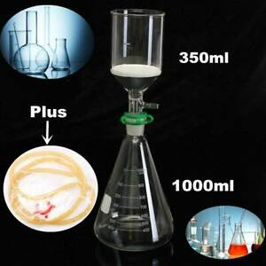 Glass Vaccum Suction Filter Filtration Kit 350ml Buchner Funnel 1000ml Conical