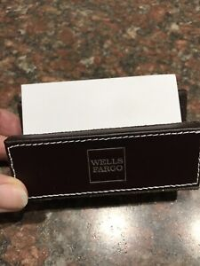 Wells Fargo Business Card Holder Brown Leather