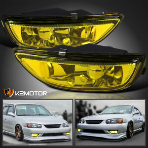 For 2001 2002 Toyota Corolla Yellow Bumper Driving Fog Lights Lamps Left right