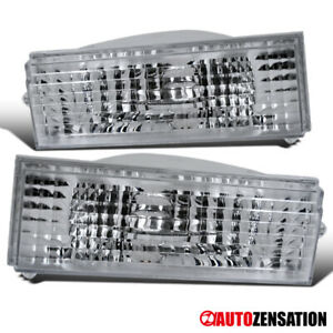 For 84 96 Jeep Cherokee Comanche Clear Bumper Lights Turn Signal Lamps Pair