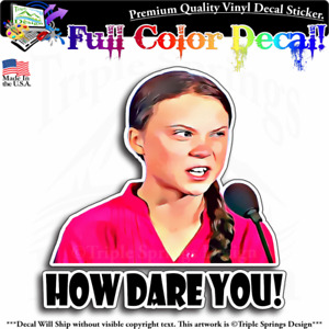 Greta Thunberg How Dare You Vinyl Decal Sticker Window Truck Car Wall Laptop